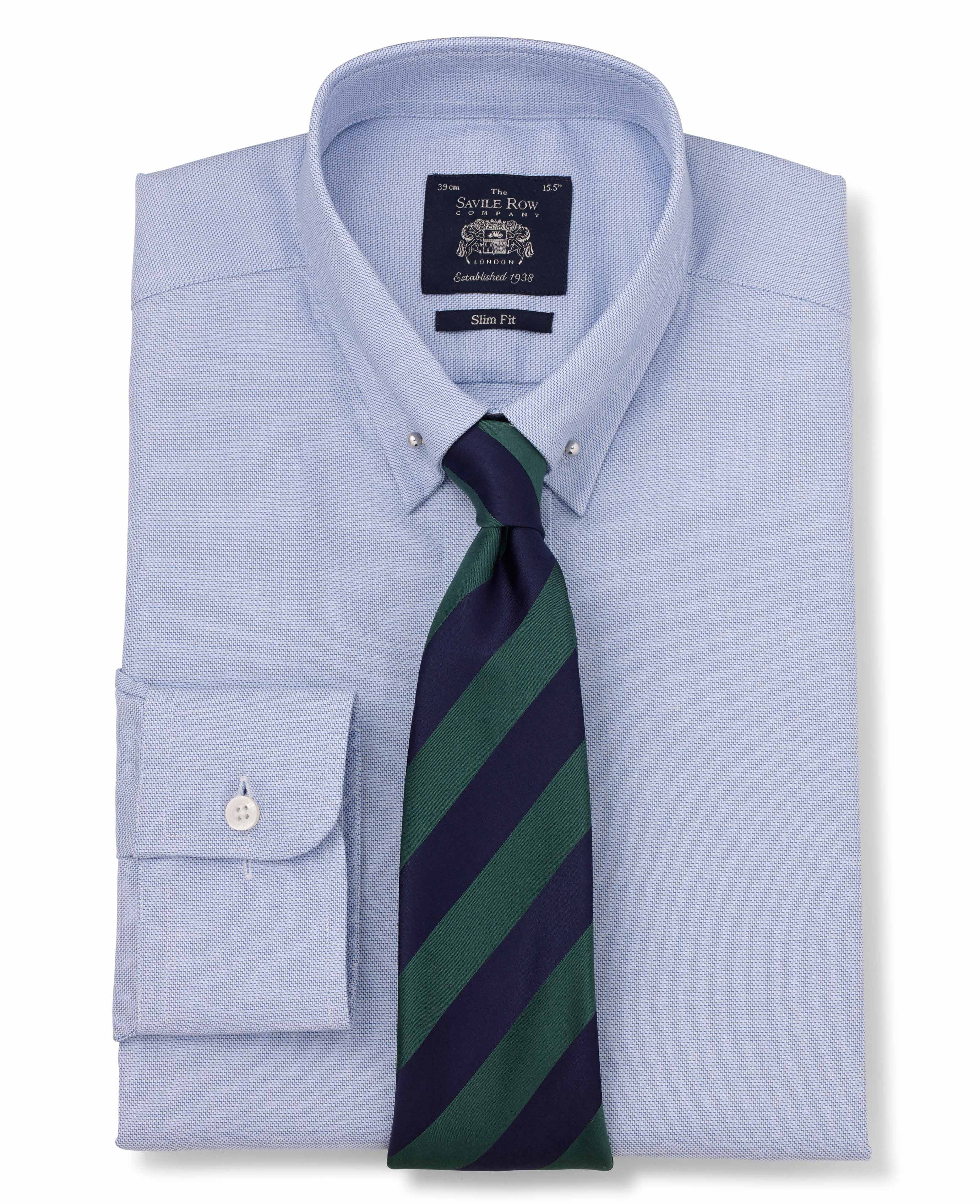 f38c9bf4 Men's blue textured slim fit pin collar shirt | Savile Row Company