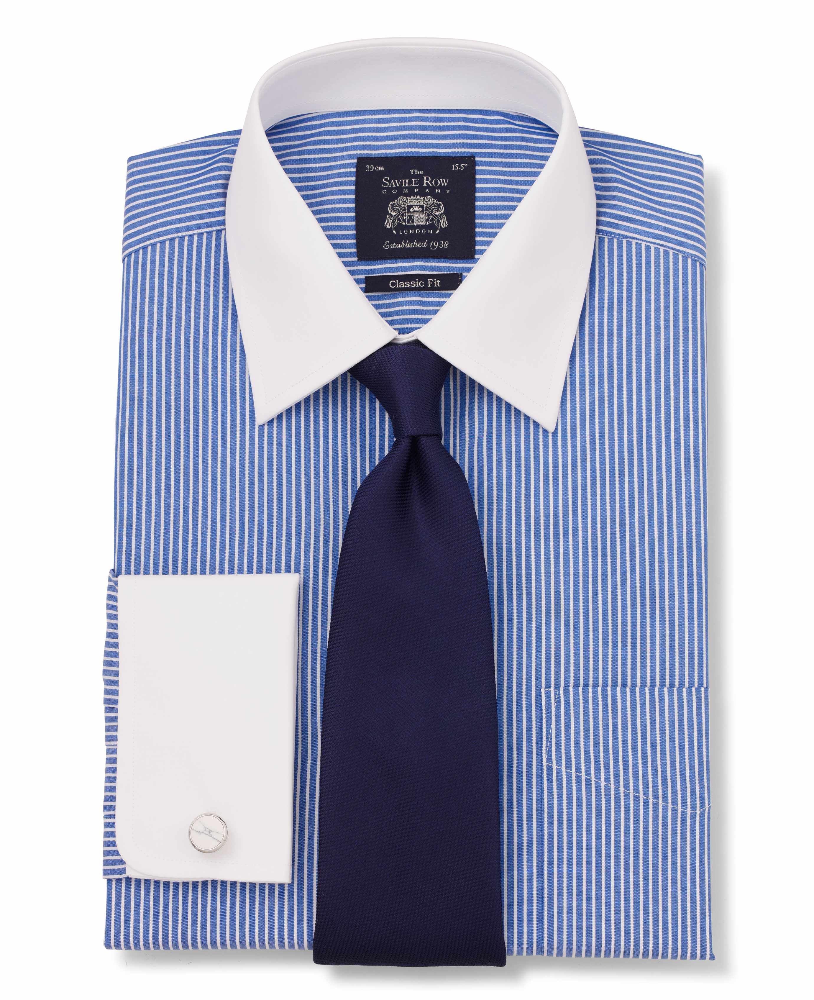 e8a820ffd5 Men's blue and white poplin reverse stripe classic fit shirt with white  contrast collar and cuffs. | Savile Row Company