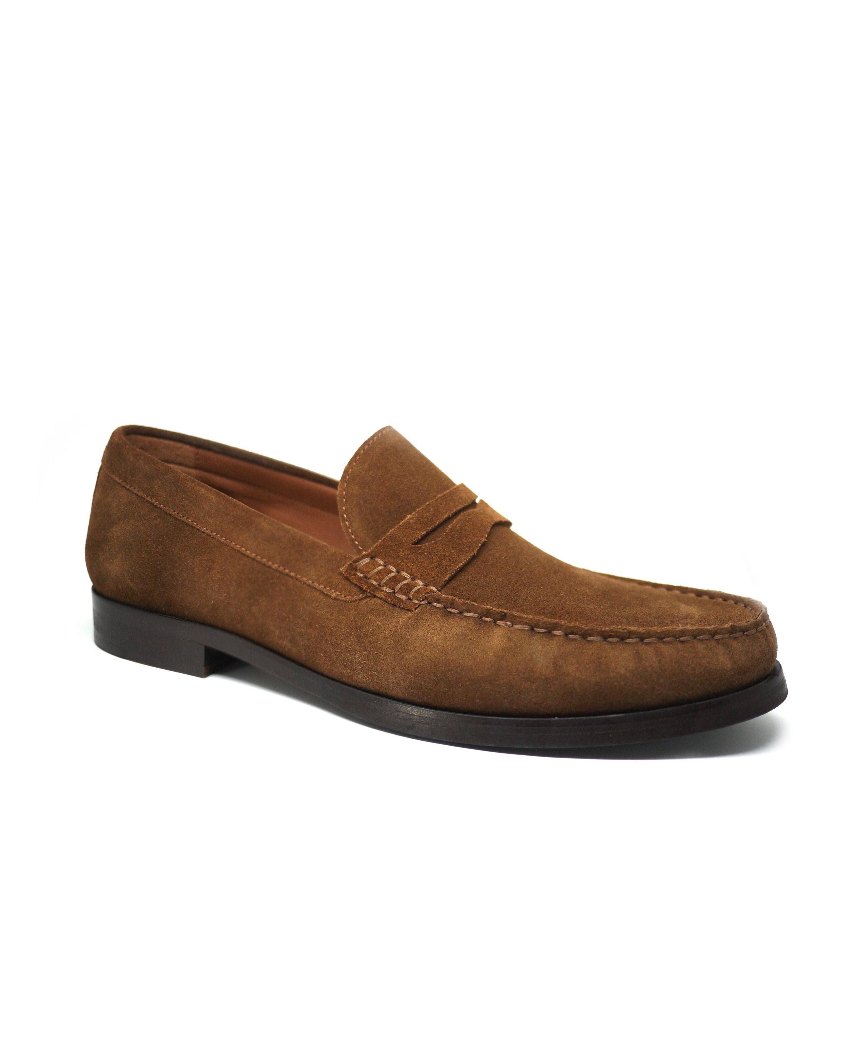 Men's light brown suede loafers