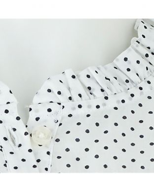 White Spotted Long Sleeve Blouse - LSC402SPT - Small Image 280x344px