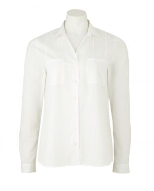 White Semi-Fitted Women's Shirt With Pin-Tuck Detail - LSC413WHT