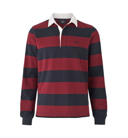 Navy And Burgundy Striped Rugby Shirt