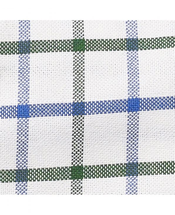 White Green Blue Window Check Classic Fit Oxford Shirt - 1318WBG - Large Image