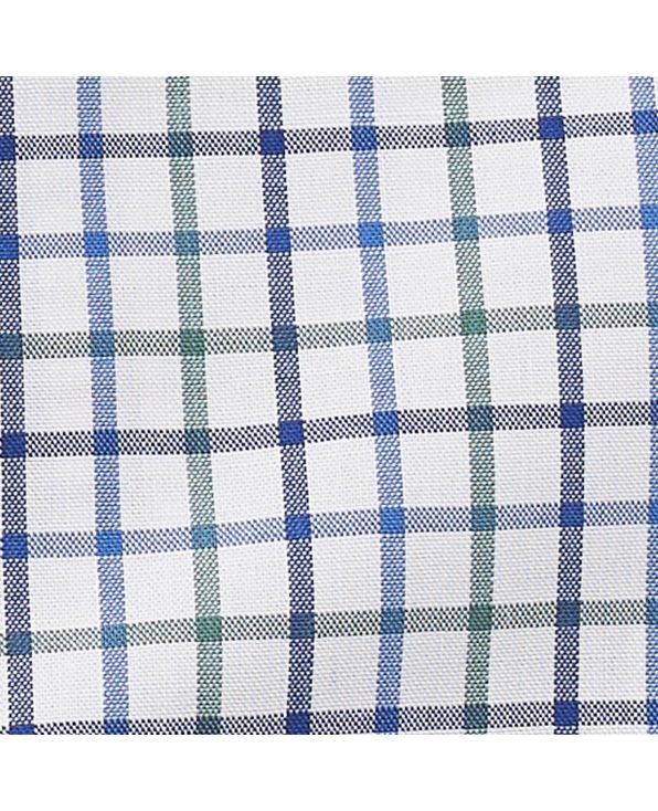 White Blue Green Poplin Check Classic Fit Shirt - 1319WBG - Large Image