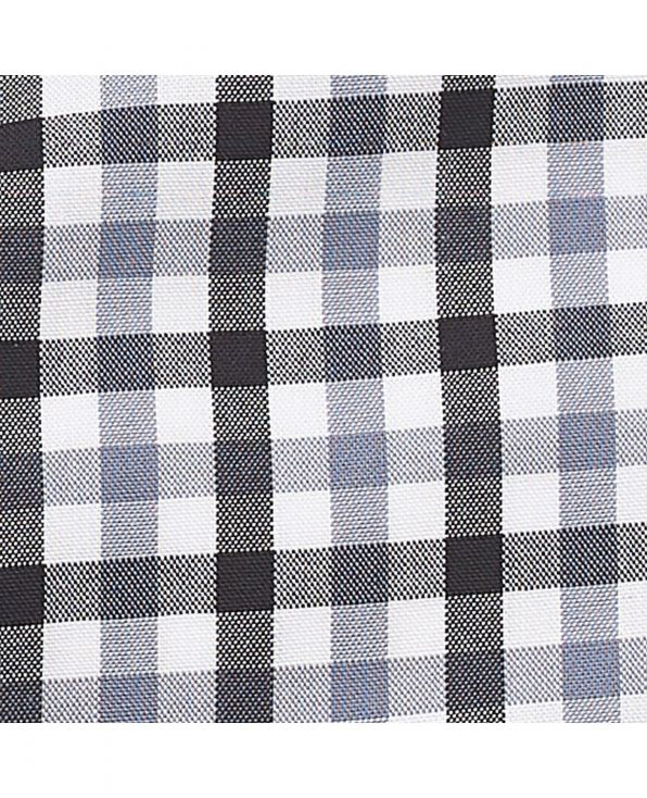 Black Grey White Gingham Check Classic Fit Shirt - 1321BGY - Large Image