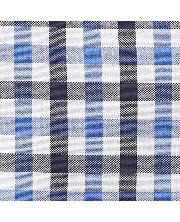 Navy Blue White Gingham Check Classic Fit Shirt - 1321BLN - Large Image
