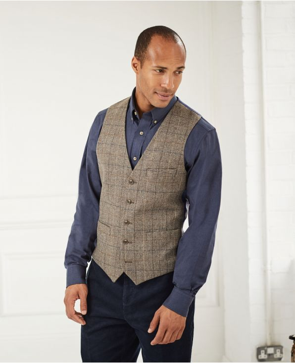 Taupe Check Tweed Waistcoat - MWC348GRY - Large Image