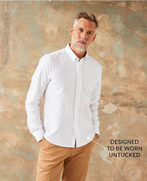 White Cotton Oxford Slim Fit Casual Shirt In Shorter Length - 1389WHT