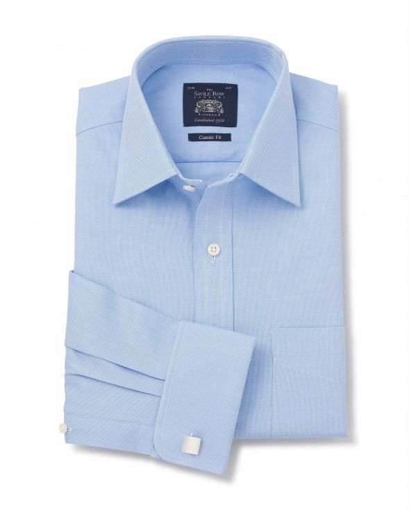 Blue Dobby Classic Fit Windsor Collar Shirt - Double Cuff - 3034BLU - Thumbnail Image 78x98px