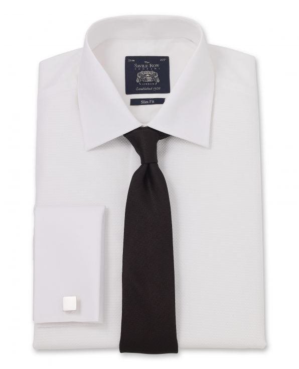 White Marcella Bib Front Slim Fit Evening Double Cuff Shirt