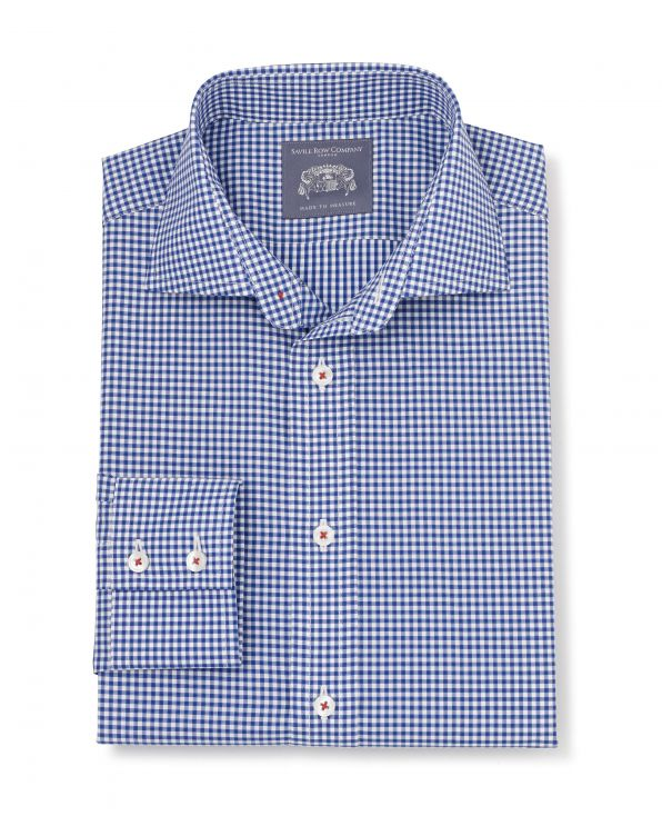 Seth Blue Gingham Check Made To Measure Shirt - Large Image