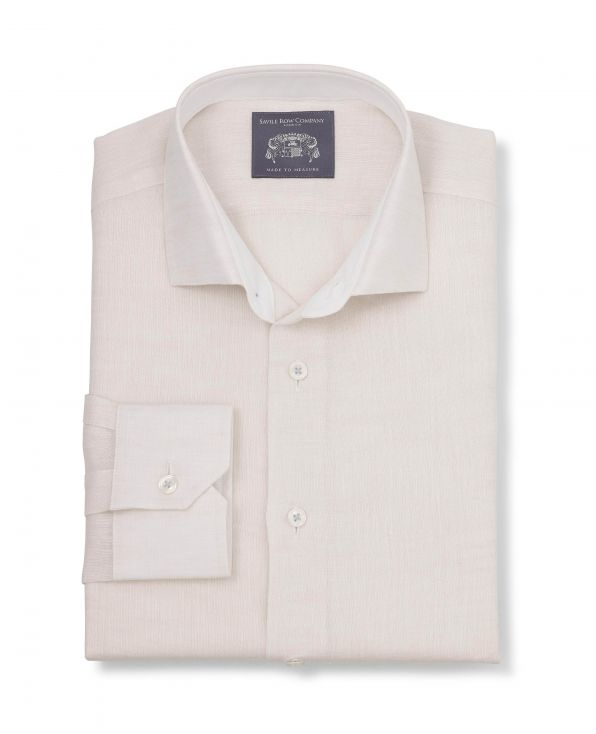 Bertram Cream Linen Made-To-Measure Shirt