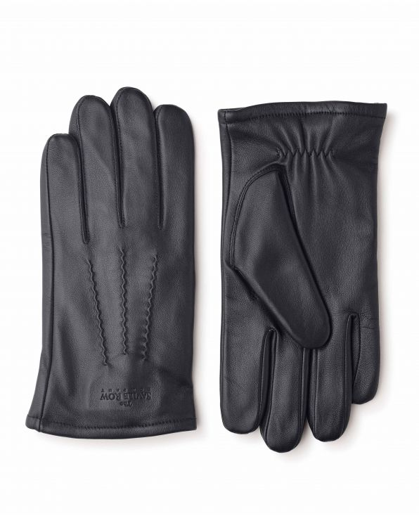 Black Leather Gloves With Red Lining - MGV913BLR - Small Image 280x344px