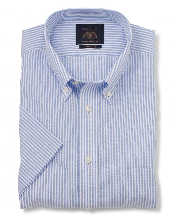 Blue Bengal Stripe Classic Fit Short Sleeve Casual Shirt