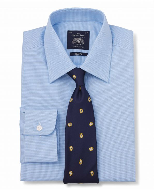 Blue Cotton Dobby Slim Fit Shirt - Single Cuff Folded Shot
