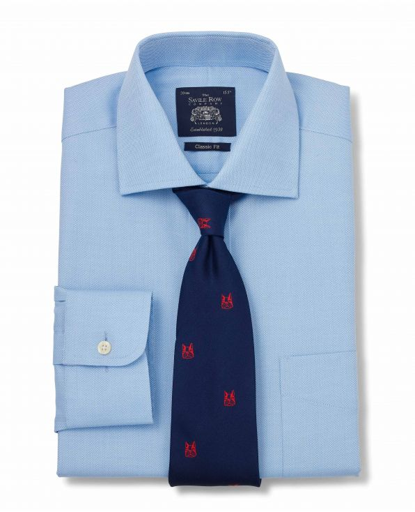 Blue Fine Herringbone Classic Fit Shirt - Single Cuff With Tie - 1296BLU - Large Image