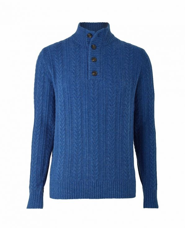 Blue Lambswool-Blend Cable Knit Jumper
