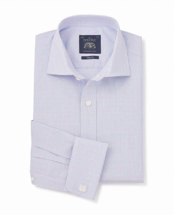 Blue Pink White Check Slim Fit Shirt - Double Cuff - 1328BLP - Large Image
