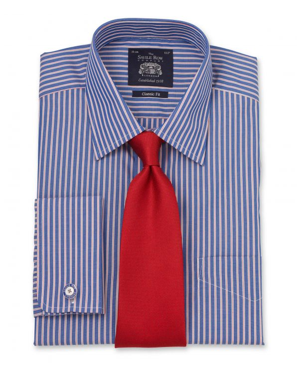 Blue Red White Stripe Classic Fit Shirt - Double Cuff Folded Shot