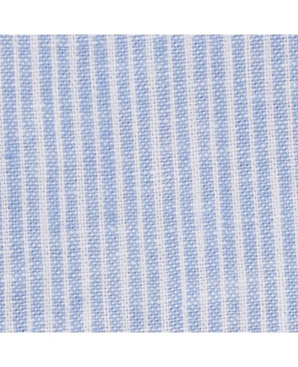 Blue Striped Linen-Blend Classic Fit Short Sleeve Shirt - 1358WHBMSS - Small Image 280x344px