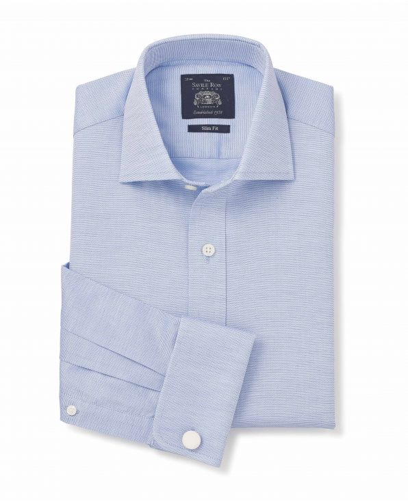 Blue Textured Slim Fit Cutaway Collar Shirt - Double Cuff - 3052BLU - Small Image 280x344px