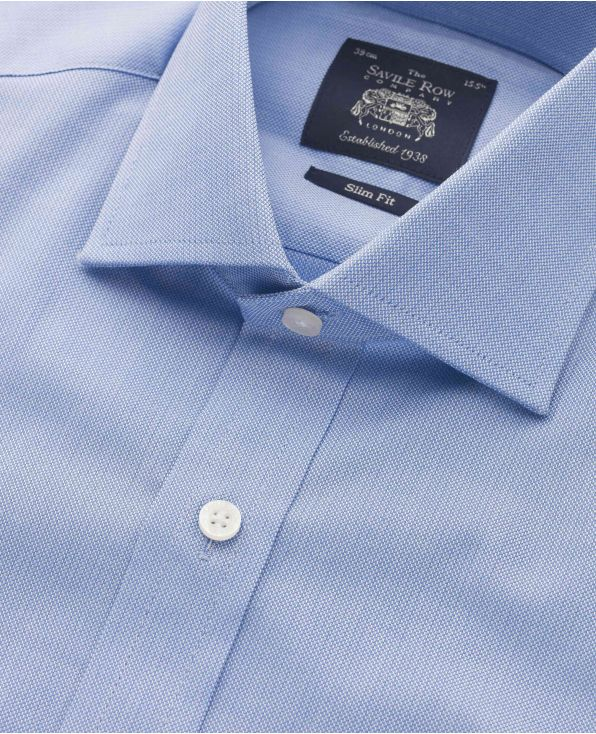 Blue Textured Weave Slim Fit Cutaway Collar Shirt - Double Cuff - 3064BLU - Large Image