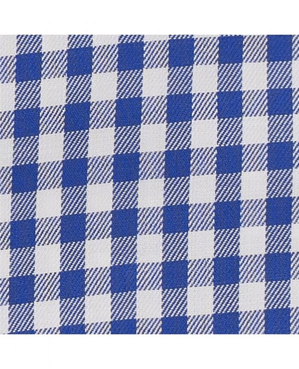 Blue White Gingham Twill Slim Fit Button-Down Casual Shirt Folded Shot