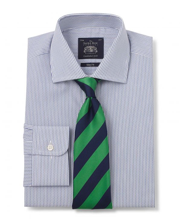 Blue White Stripe Slim Fit Shirt - Single Cuff With Tie - 1283NAV - Large Image