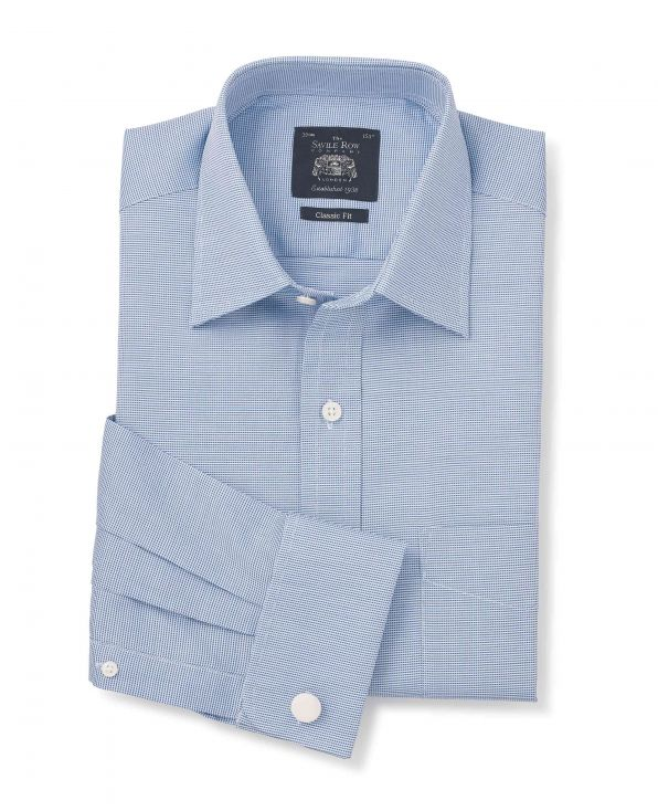 Blue White Textured Classic Fit Windsor Collar Shirt - Double Cuff - 3059MBL - Large Image