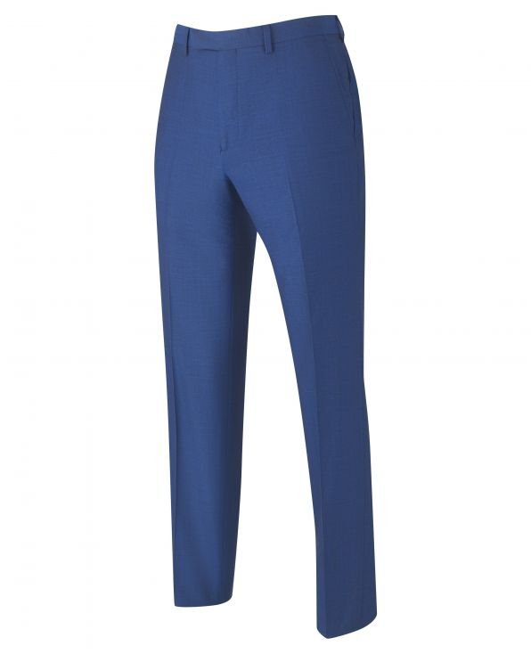 Bright Blue Tailored Business Suit Trousers - MFT506BLU - Large Image