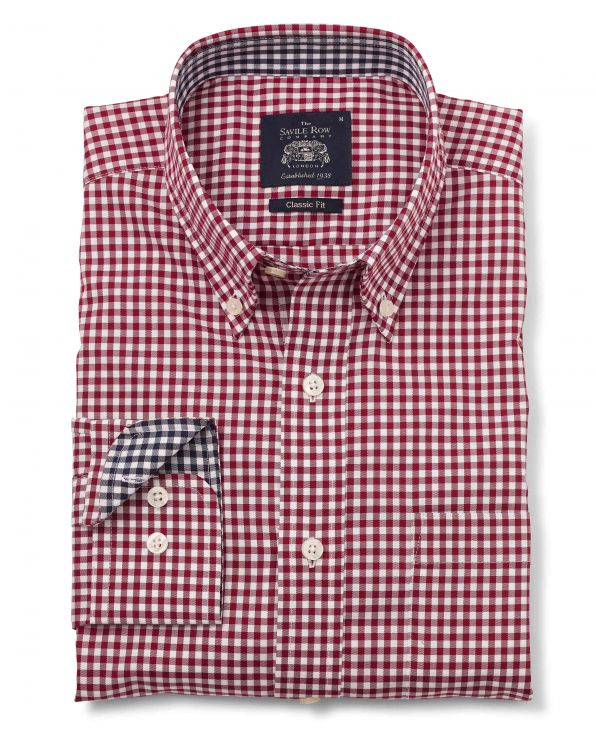 Burgundy White Gingham Twill Classic Fit Button-Down Casual Shirt Folded Shot