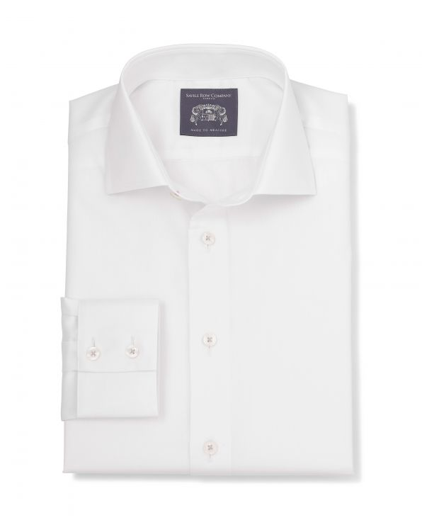 Caspar White Herringbone Made-To-Measure Shirt