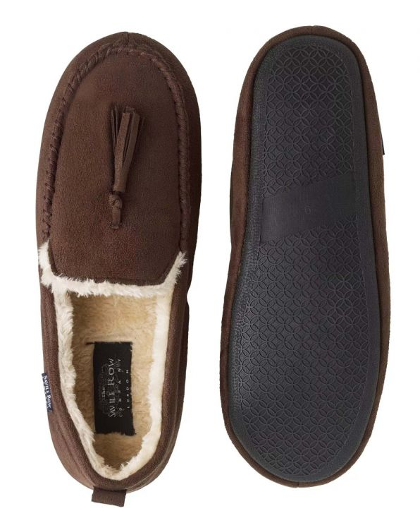 Chocolate Microsuede Moccasin Slippers