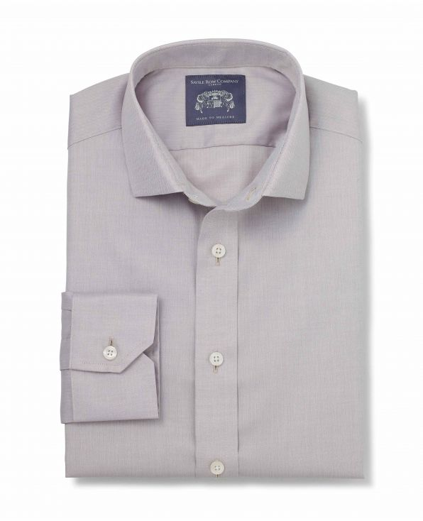 Clarence Grey Fine Herringbone Made-To-Measure Shirt