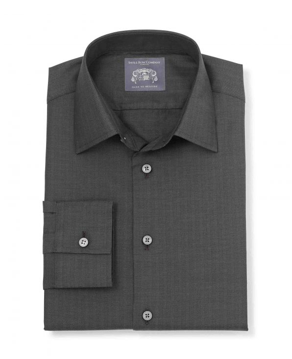 Dominic Dark Grey Herringbone Made-To-Measure Shirt