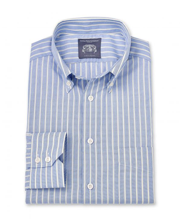 Earl Blue Stripe End-On-End Made To Measure Shirt