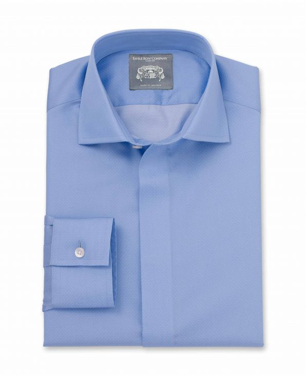 Francis Blue Pinspot Dobby Made-To-Measure Shirt
