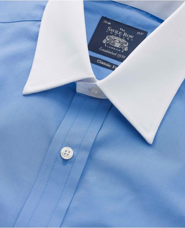 French Blue Classic Fit Shirt With White Collar & Cuffs - 1340BLW - Large Image