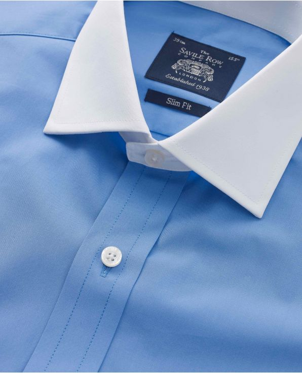French Blue Slim Fit Shirt With White Collar & Cuffs - 1343BLW - Small Image 280x344px