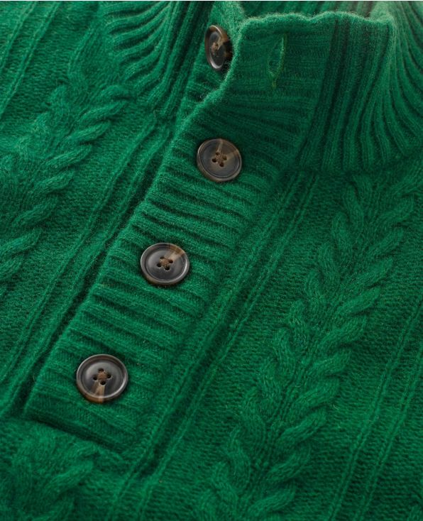 Green Lambswool-Blend Cable Knit Jumper