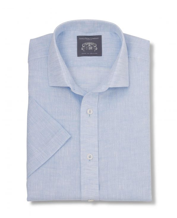 Harold Pale Blue Linen Made-To-Measure Shirt