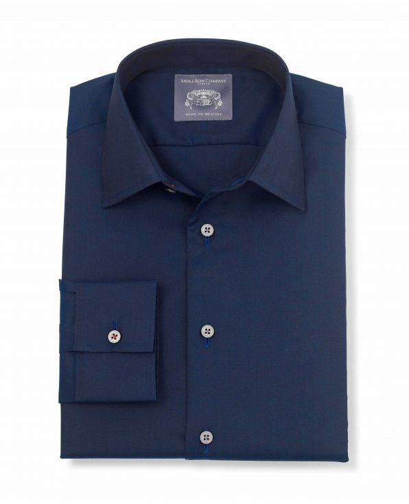 Ivor Navy Herringbone Made-To-Measure Shirt