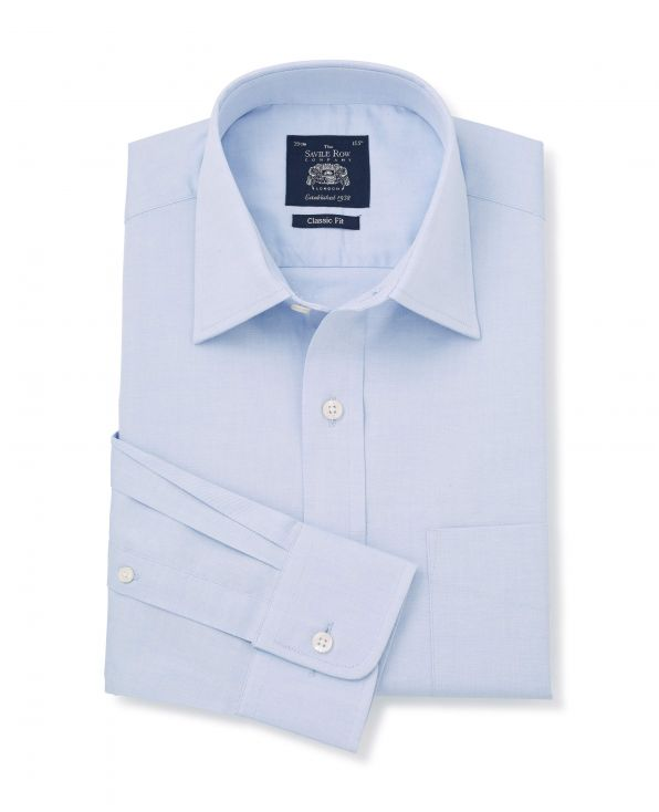 Blue Pinpoint Oxford Classic Fit Shirt - Single Cuff - 3093BLU - Small Image 280x344px