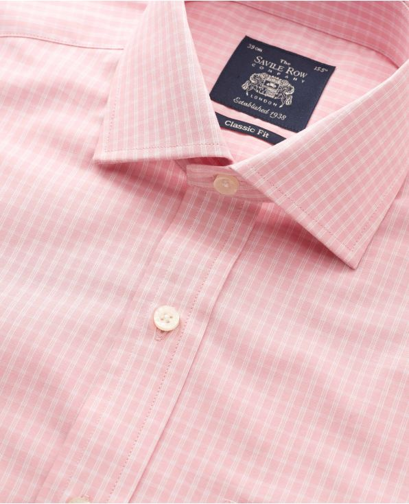 Dusky Pink Check Classic Fit Shirt - Double Cuff - 3100PNK - Small Image 280x344px