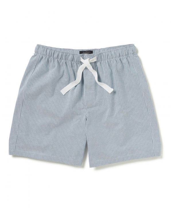 Grey Striped Oxford Cotton Lounge Shorts - MLS989GRY - Small Image 280x344px