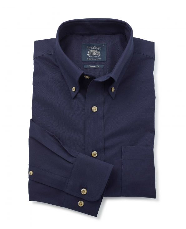 Navy Classic Fit Button-Down Oxford Shirt - 1188NAV - Small Image 280x344px