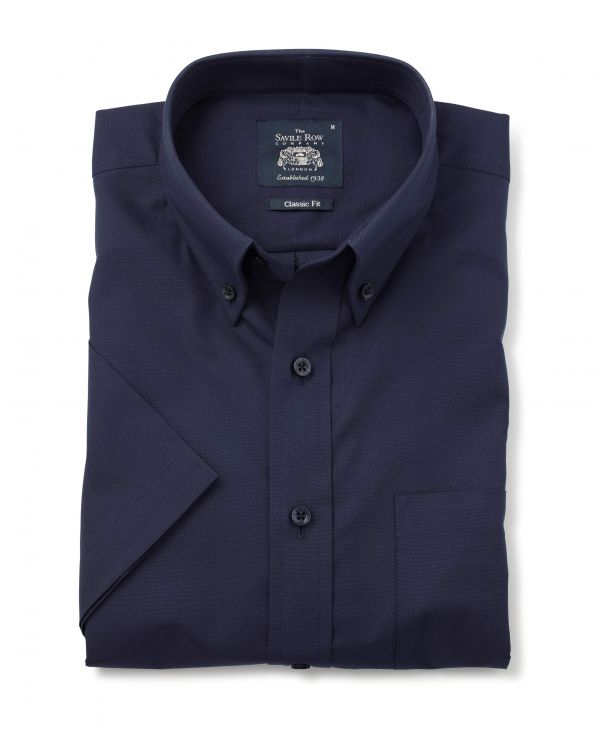 Navy Classic Fit Short Sleeve Oxford Shirt - 1354NAVMSS - Small Image 280x344px