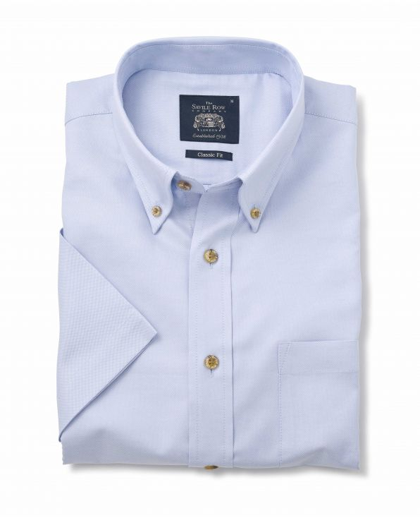 Pale Blue Classic Fit Short Sleeve Oxford Shirt - 1188BLUMSS - Small Image 280x344px