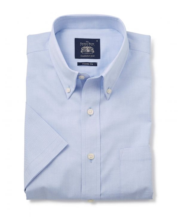 Pale Blue Classic Fit Short Sleeve Shirt - 1354BLUMSS - Small Image 280x344px