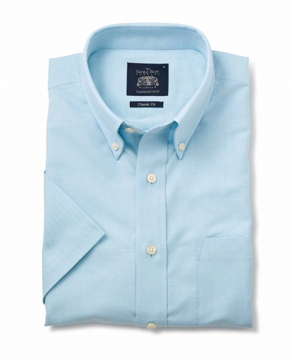Turquoise Button-Down Short Sleeve Oxford Shirt - 1188TURMSS - Small Image 280x344px